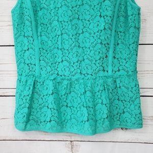 Ann Taylor Tops - Ann Taylor crochet lace lined peplum blouse